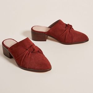 Anthropologie Tess Suede Burgundy Knotted Mules